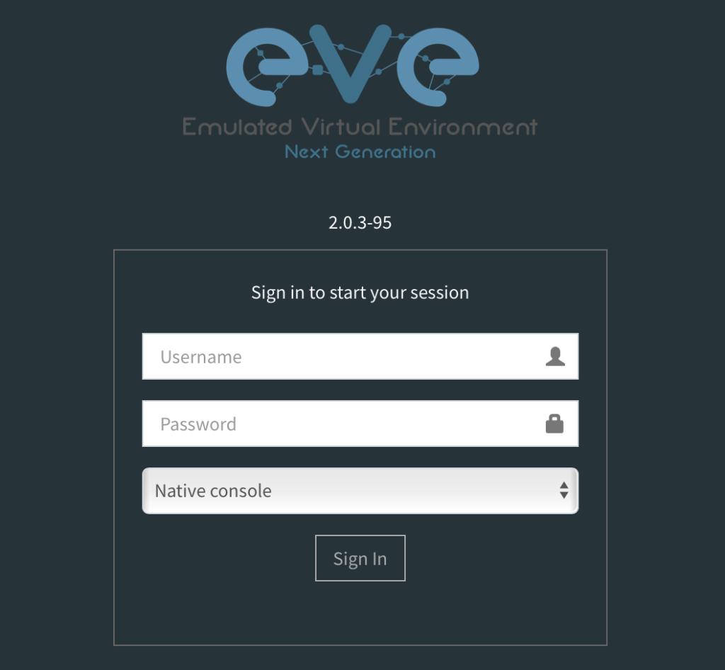 Ekran logowania do eve-ng