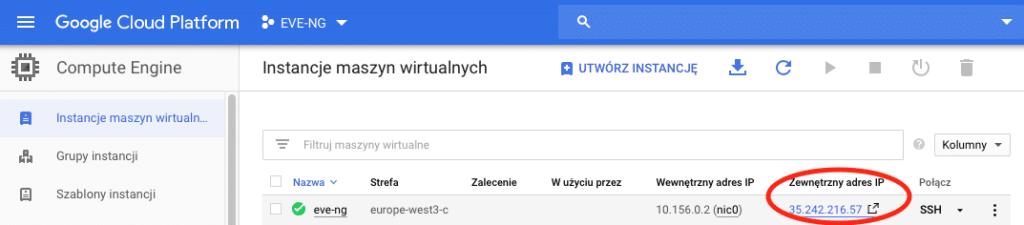 Wybór VM do otwarcia w przeglądarce