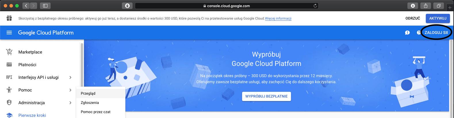 Logowanie do konta google w usłudze Google Cloud